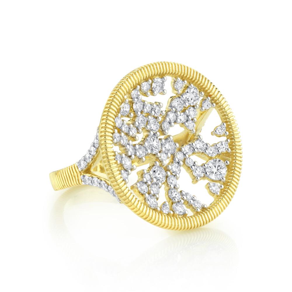SLOANE STREET WHITE DIAMOND RING WITH STRIE DETAIL, 18K-YG
