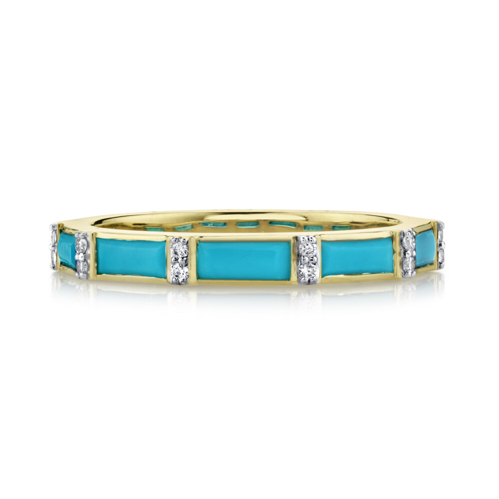 Turquoise Baguette Ring With Diamonds