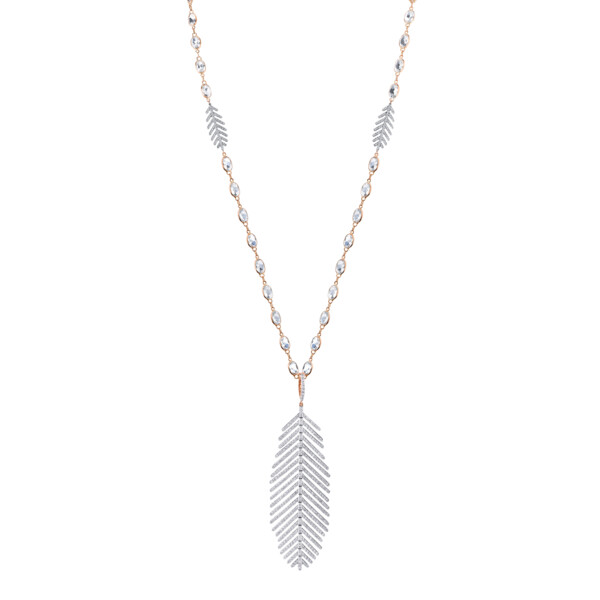 Closeup photo of Pave Diamond Large Feather Pendant