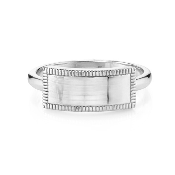 Closeup photo of CHARLIZE OPEN RECTANGLE RING WITH STRIE DETAIL, WHITE RHODIUM