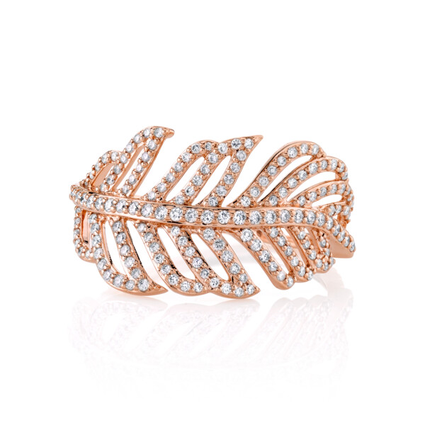 Closeup photo of SLOANE STREET FEATHER RING WITH WHITE DIAMOND DETAIL, 18K-RG