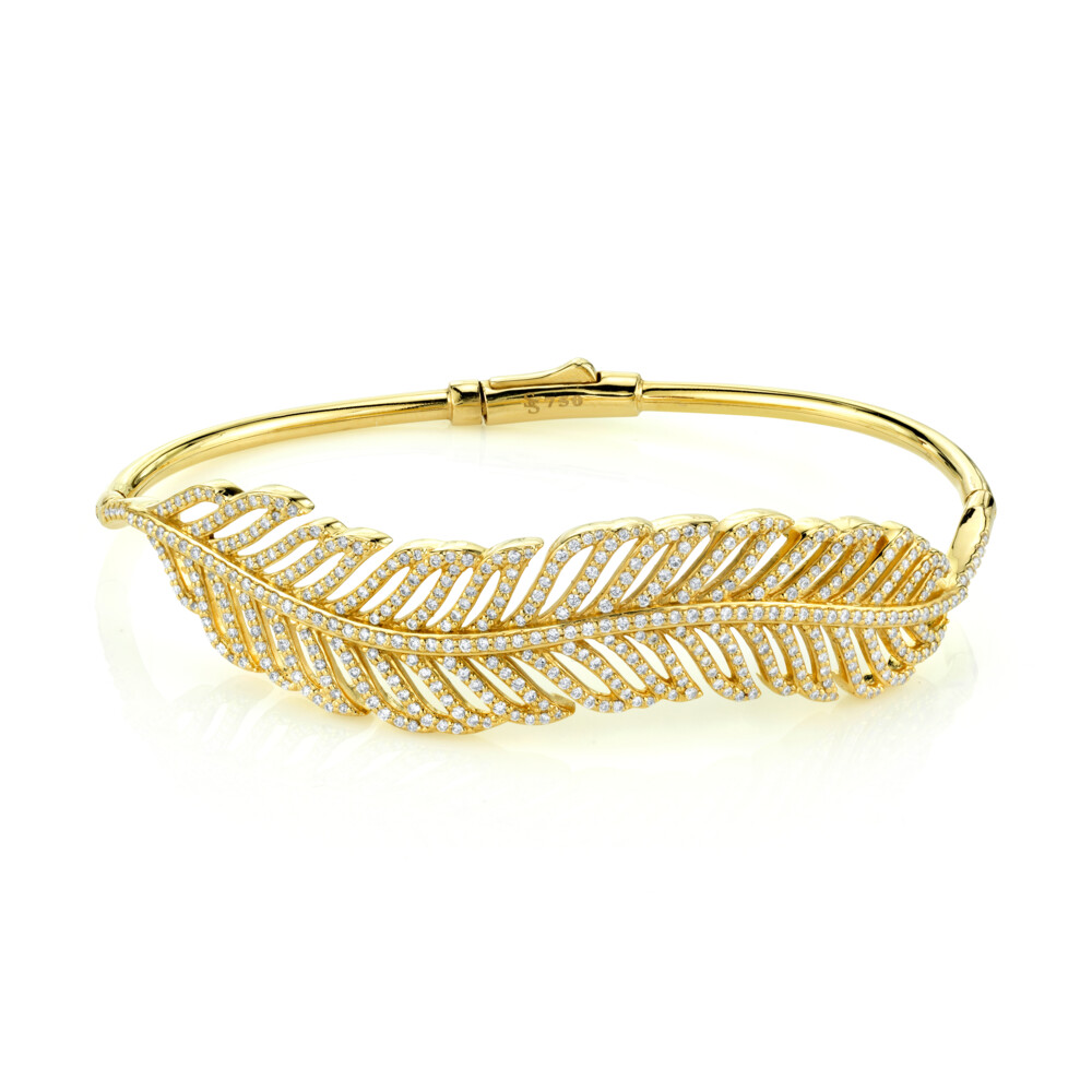 Pave Diamond Feather Bangle