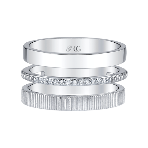 Closeup photo of CHARLIZE BAND WITH OPEN SPACE CENTERED WITH STRIE AND DIAMOND DETAIL, STERLING SILVER- WHITE RHODIUM