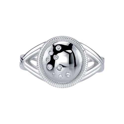 Closeup photo of CHARLIZE ROUND RING WITH DIAMOND DETAIL, WHITE RHODIUM PLATED, SIZE 6