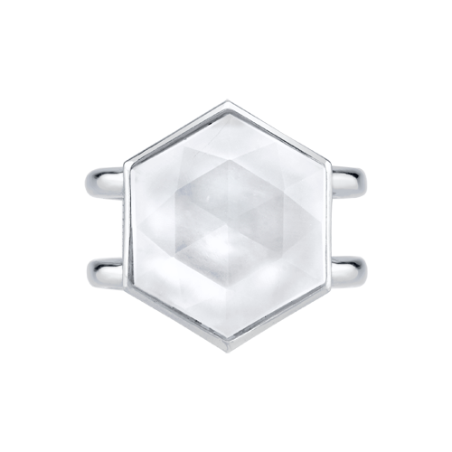 Closeup photo of CHARLIZE HEXAGON WHITE QUARTZ RING WITH STRIE DETAIL, STERLING SILVER - WHITE RHODIUM PLATED, SIZE 6