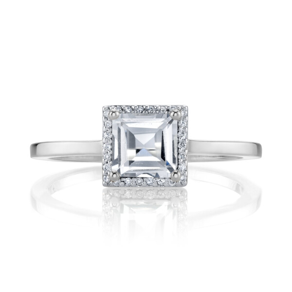 Closeup photo of CHARLIZE WHITE TOPAZ SQUARE RING WITH DIAMOND DETAIL, WHITE RHODIUM