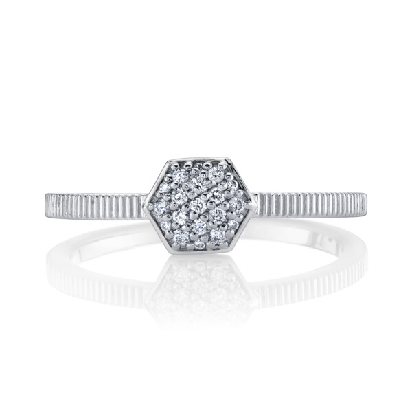 Closeup photo of CHARLIZE PAVE HEXAGON RING ON STRIE SHANK, WHITE RHODIUM