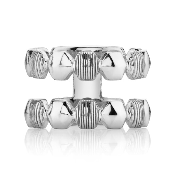 Closeup photo of CHARLIZE DOUBLE STACKER RING WITH ALTERNATING STRIE AND SHINY HEXAGONS, WHITE RHODIUM
