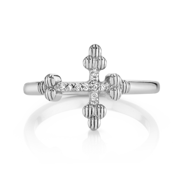 Closeup photo of CHARLIZE CROSS RING WITH DIAMOND AND STRIE DETAIL, SIZE 7