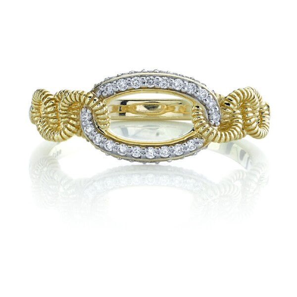 Closeup photo of Pave Diamond Link Ring