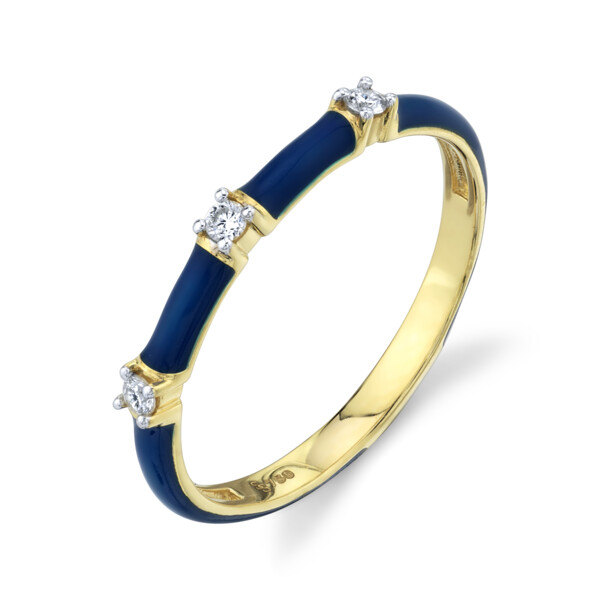 Closeup photo of SLOANE STREET BLUE  ENAMEL STACKERS RING WITH WHITE DIAMOND DETAILS, 18K-Y