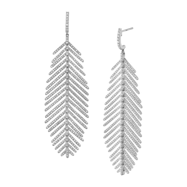 Closeup photo of Pave Diamond Large Feather Earrings