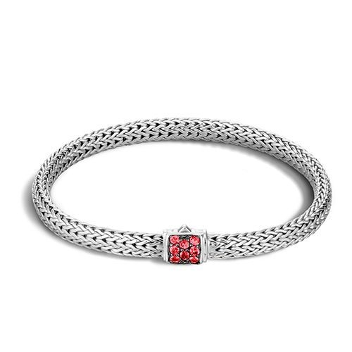 Classic Chain Bracelet Sterling Silver with Red Sapphires