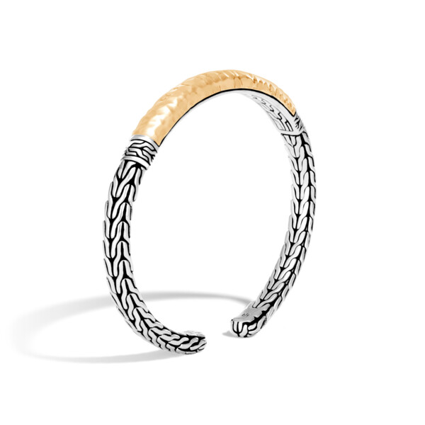 Closeup photo of Classic Chain Flex Cuff Sterling Silver with 18K Gold