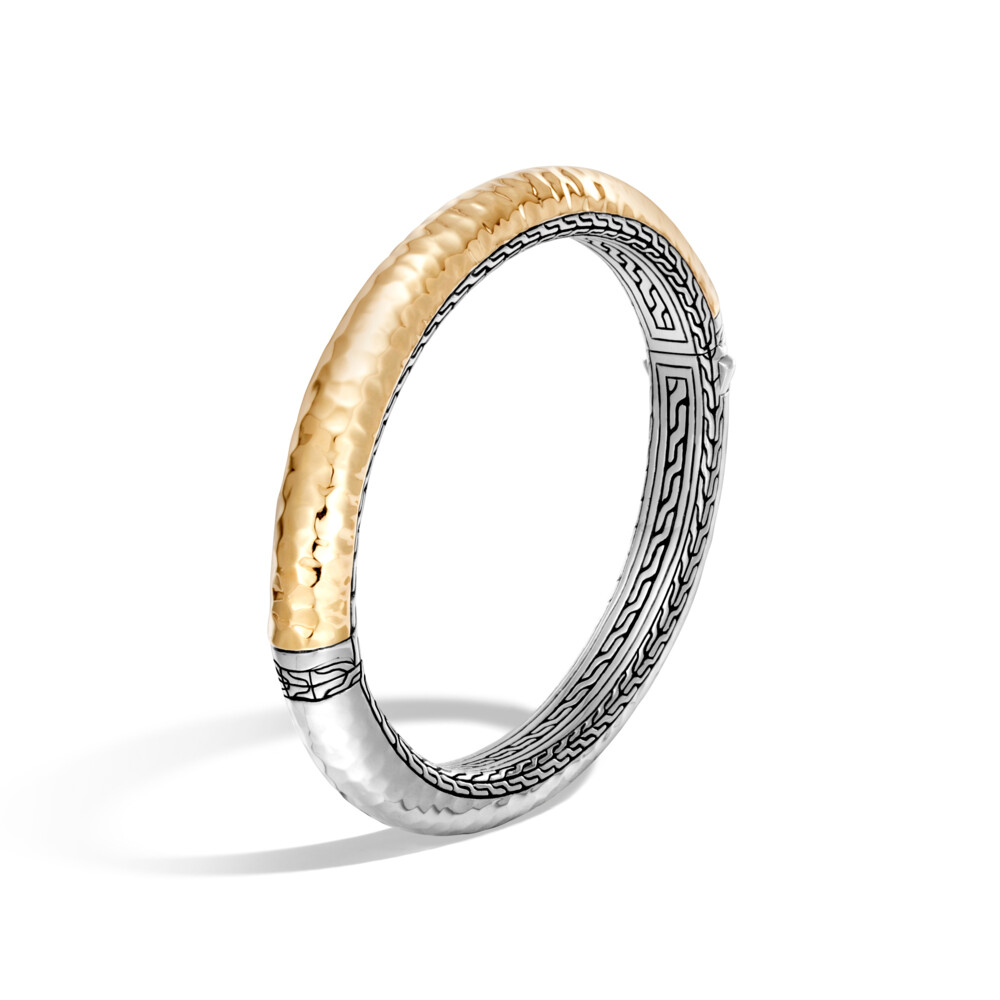 Classic Chain Hinged Bangle Sterling Silver with 18K Gold
