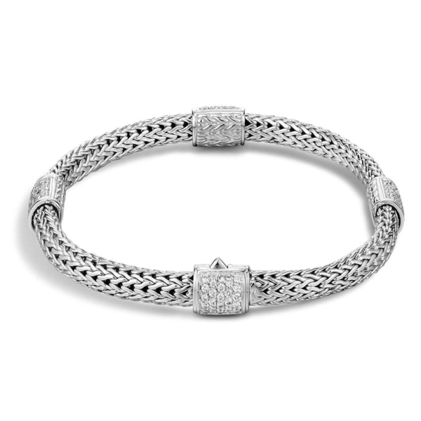Closeup photo of Classic Chain Four-Station Bracelet Sterling Silver with Diamonds