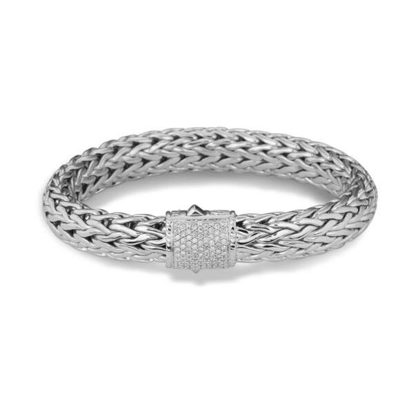 Closeup photo of Classic Chain Bracelet Sterling Silver with Diamonds