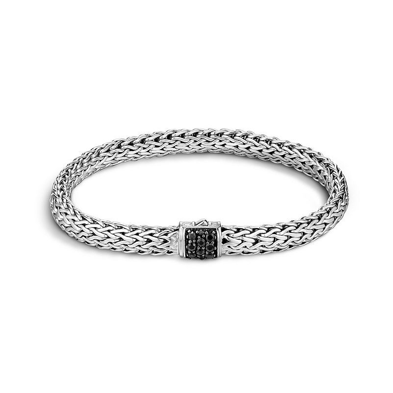 Classic Chain Bracelet Sterling Silver with Black Sapphires