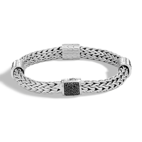 Closeup photo of Woven Chain Four-Station Bracelet Sterling Silver with Black Sapphires