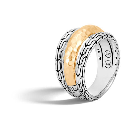 Closeup photo of Classic Chain Ring in Silver and Hammered 18K Gold