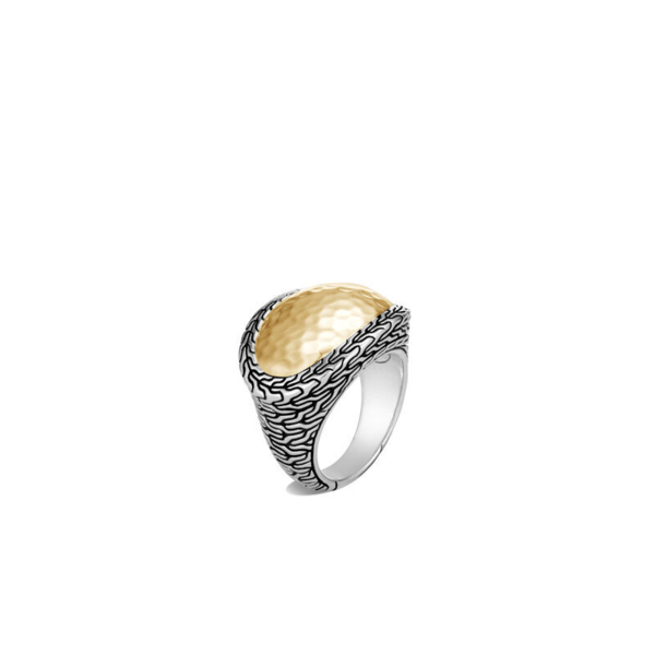 Closeup photo of Classic Chain Ring Sterling Silver with 18K Gold