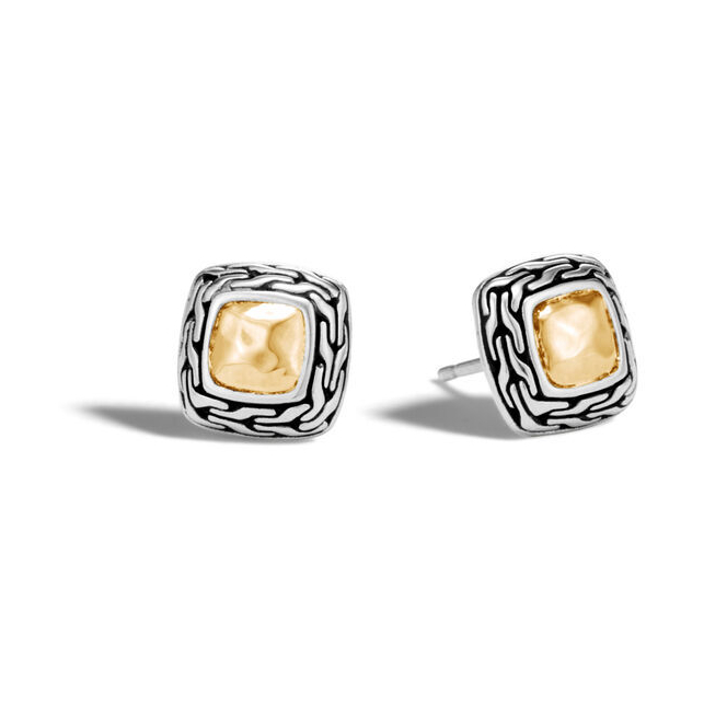 Classic Chain Stud Earrings Sterling Silver with 18K Gold