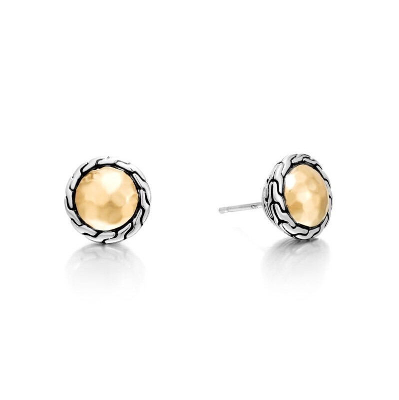 Classic Chain Round Stud Earrings Sterling Silver with 18K Gold