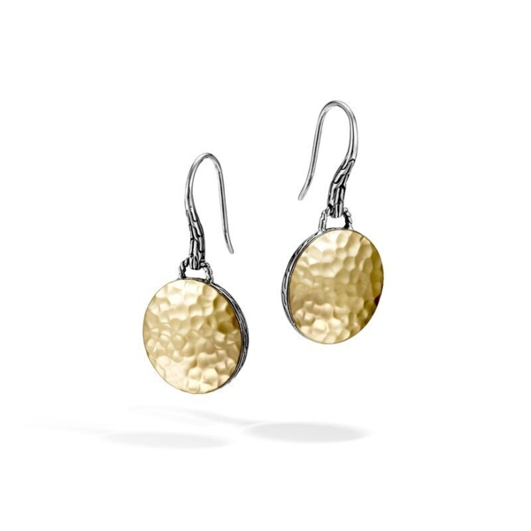 Closeup photo of Hammered Drop Earrings Sterling Silver with 18K Gold