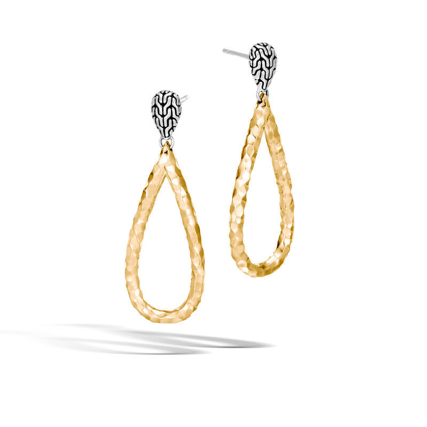 Closeup photo of Classic Chain Drop Earrings Sterling Silver with 18K Gold