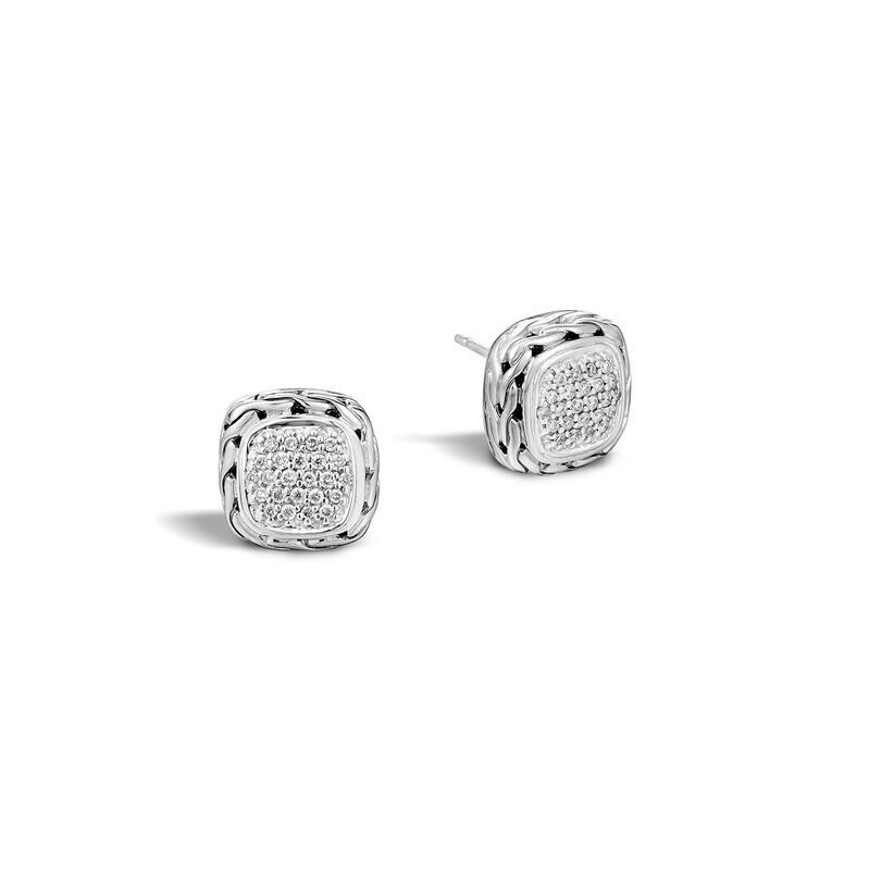 Classic Chain Stud Earrings Sterling Silver with Diamonds