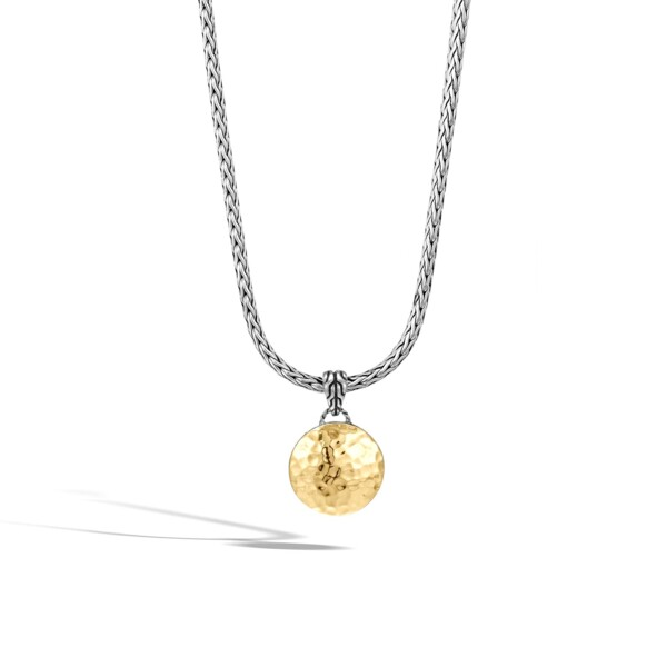 Closeup photo of Woven Chain Necklace Sterling Silver with 18K Gold Pendant