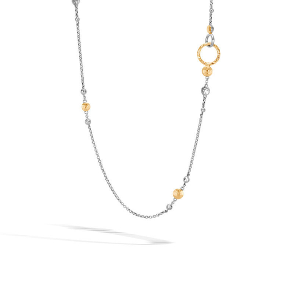 Closeup photo of Round Link Chain Necklace Sterling Silver with 18K Gold