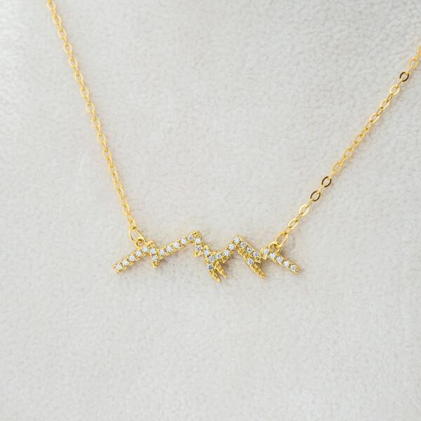 Closeup photo of Goldtone CZ Mtn Silhouette Necklace