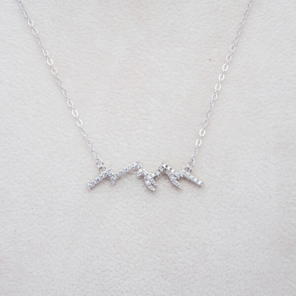 Closeup photo of Sterling Silver CZ Mtn Silhouette Necklace