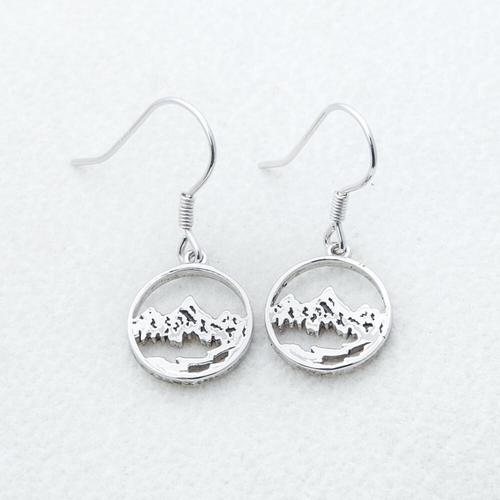 Sterling Silver Mtn Scene Earrings