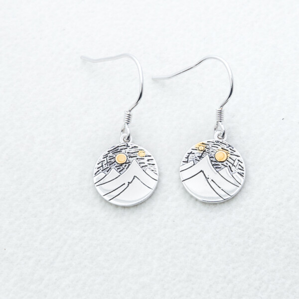 Closeup photo of Sterling Silver Round Mtn Earrings