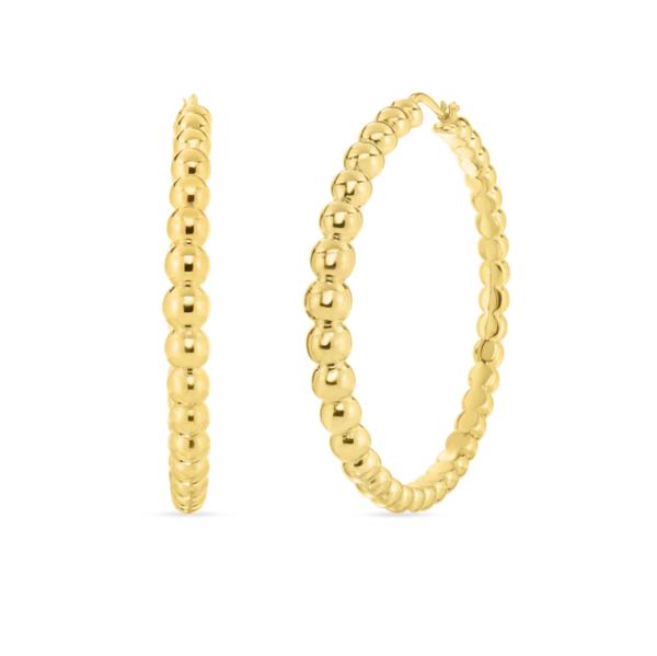 Closeup photo of Bead Motif Gold Hoop Earrings