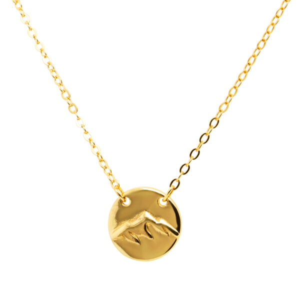 Closeup photo of Gold Tone Mountain Baby Necklace
