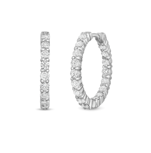 Closeup photo of 18kw Small Inside Out Diamond Hoops