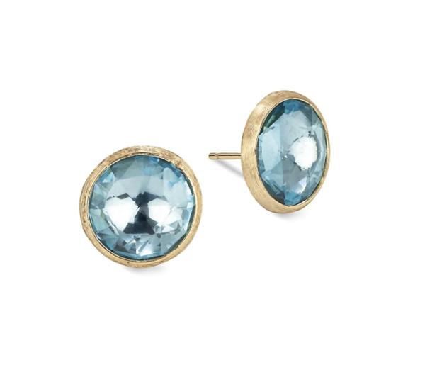 Closeup photo of Jaipur 18kt Gold & Blue Topaz Earrings