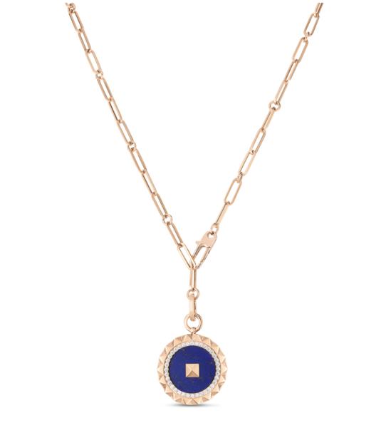 Closeup photo of Oblsco Lapis Medalian on chain