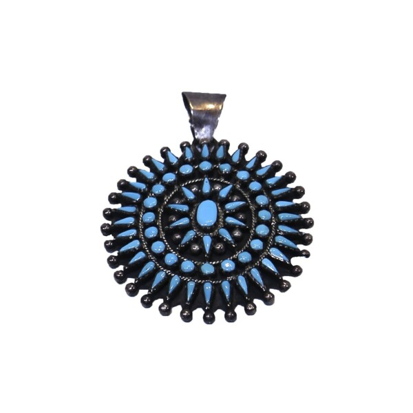 Closeup photo of Zuni Sleeping Beauty Turquoise Pendant