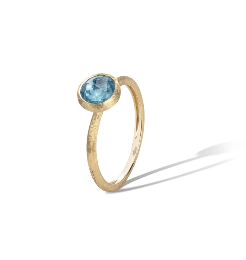 18K Yellow Gold & Blue Topaz Stackable Ring