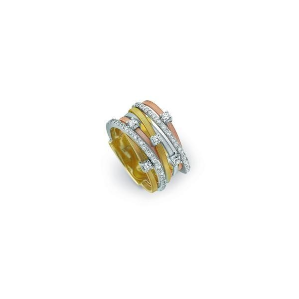 Closeup photo of 18K Yellow, Rose and White Gold Seven Strand Diamond & Pave Ring