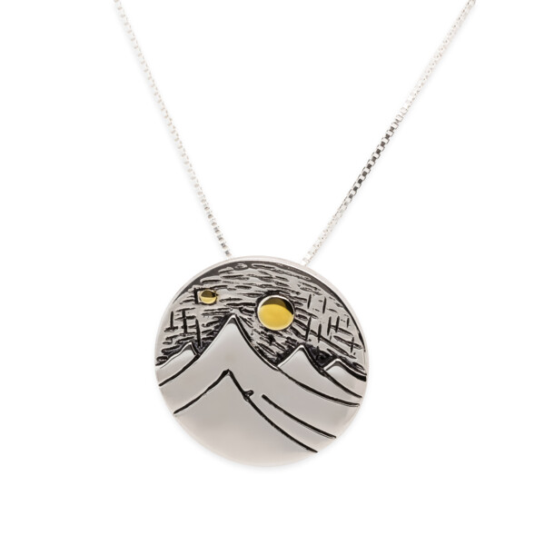 Closeup photo of Mountain Day SS/Gold Plated Pendant-LG