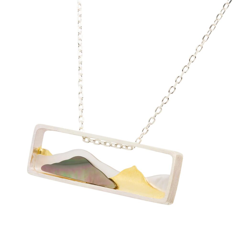 Mountain Range Abalone, MOP SS/Gold Plate Pendant