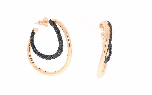 2-Tone Wave Polvere Earrings - Rose Gold Black Polvere