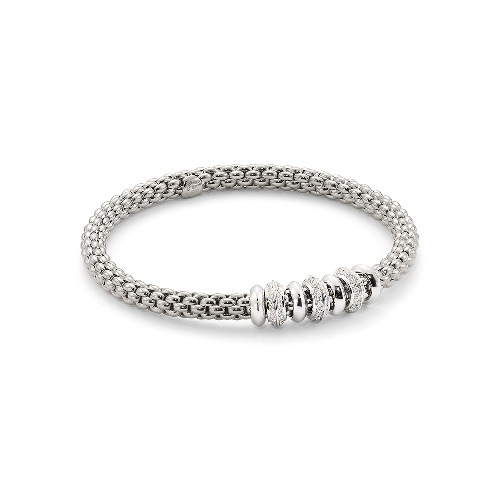 Closeup photo of 18k Gold Solo Bracelet in White Gold with Diamonds Size Medium