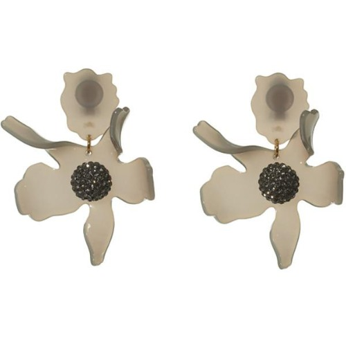 Crystal Lily Earrings - Charcoal