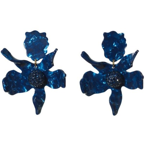 Crystal Lily Earring - Navy